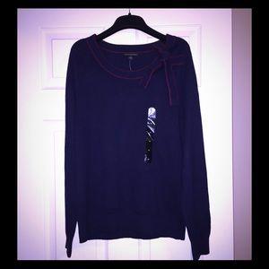 NWT Banana Republic Factory Navy Bow Sweater Sz M